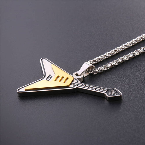 Engraved Electric Guitar Necklace Custom Two Tone Rock Musical Jewelry 18K Gold Plated 316L Stainless Steel