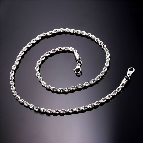 Cool HipHop Rope Gold Chain Necklace For Men Rapper 3MM 6MM 9MM
