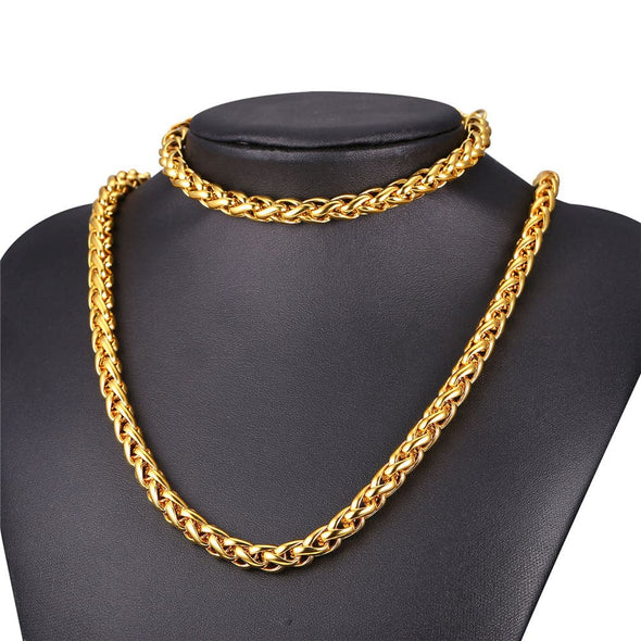 Gold chain for men fashion 3/6/9mm wide 316L stainless steel 18K gold/black plated rope wheat chain necklace bracelet set