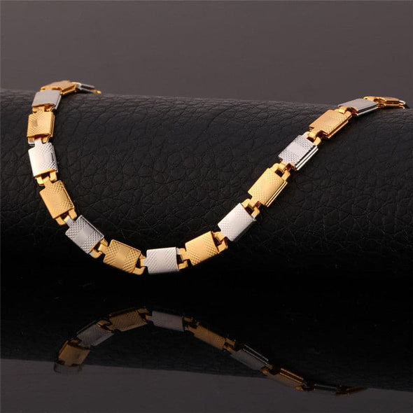 Two Tone Gold Necklace 18KGP Gold Plated Chain Necklaces Unisex Men Punk Jewelry