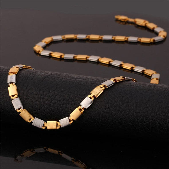 Gold chain for men and women hiphop 18k gold/platinum plated two tone flat box chain necklace bracelet