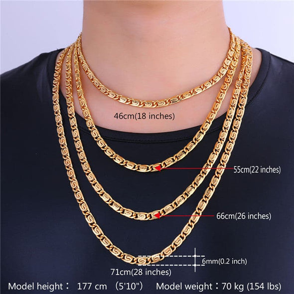 6MM Width Scroll Chain For Men Necklace Jewelry Wholesale Width Vintage Gold Chain Necklace