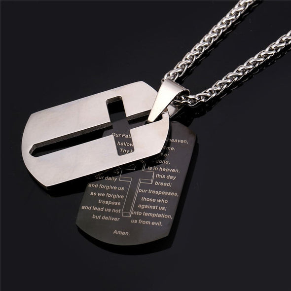 Two Tone Dog Tag Cross Necklace Bible Lords Prayer Christian Jewelry