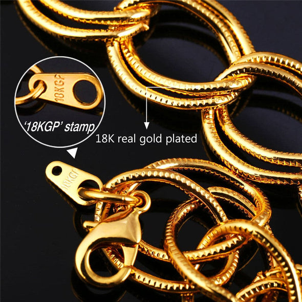 Gold chain for men and women chic hiphop 19mm wide 18K gold plated chunky double circles chain necklace