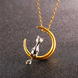 Cat Moon Pendant & Chain Gold Plated Stainless Steel Animal Jewelry Women Gift