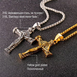 Jesus Piece Gold Cross Necklace Stainless Steel Pendant Chain For Men