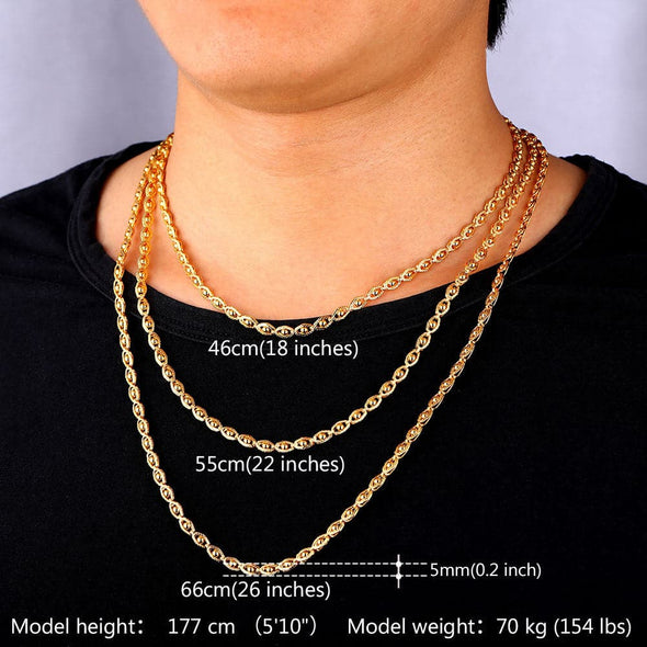 "Gold Necklace Chain Stamp ""18K"" Real Gold Plated Jewelry Beads Necklace Women /Men Jewelry"