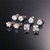 4 Pairs Unisex Women Men Stainless Steel CZ Stud Earrings Set