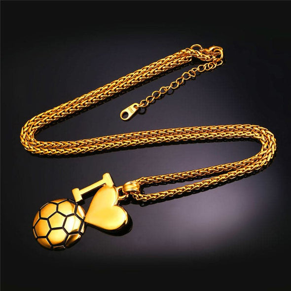 Fitness Jewelry I Love Soccer Pendants & Necklaces Sport Jewelry For Men