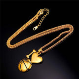 Love Basketball Necklace Sport Jewelry Stainless Steel/18K Gold Plated