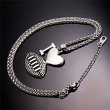 I Love Football Necklace Stainless Steel / 18K Plated Sport Jewelry