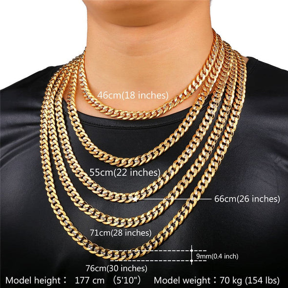18K Real Gold/Platinum Plated Two-Tone 6MM/9MM Multi Size Mens Curb Chain Necklace
