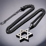 Jewish Jewelry Magen Star of David Pendant Necklace Men Stainless Steel Israel Necklace
