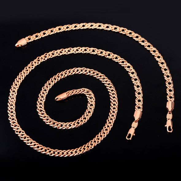 Gold chain for men and women punk hiphop 18K gold/rose gold/platinum/black plated 5mm wide flat franco curb chain necklace and bracelet set