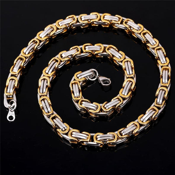 Gold chain for men and women punk 316L stainless steel 18k gold/black plated two tone Byzantine chain necklace bracelet