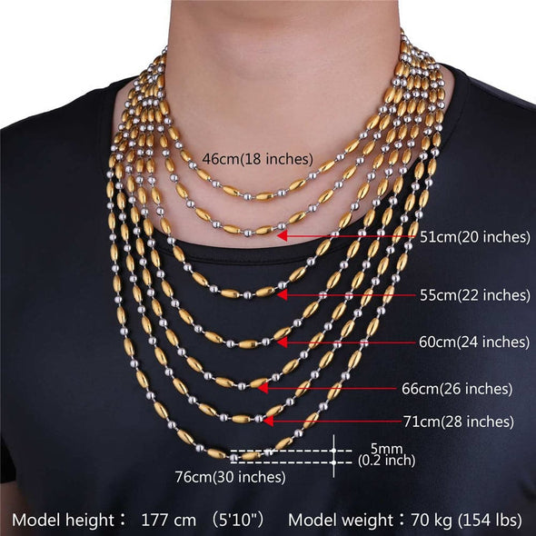 Gold chain for men and women hiphop punk 316L stainless steel 18k gold plated two tone rice beads chain necklace