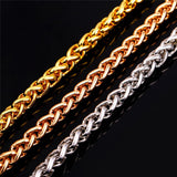 "Gold Necklace Stamp ""18K"" Gold Plated 6MM 55CM Round Wheat Spiga Chain Necklace Punk Men"