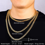 "8MM Gold Necklace With ""18K"" Stamp 18K Real Gold Plated Chain Necklaces Punk Men Jewelry"