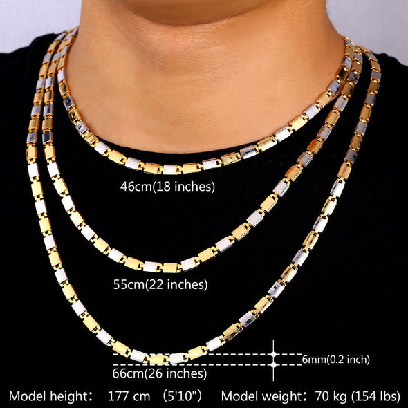 5MM Box Chain 18K Gold Plated Flat/Square/Round Rolo Necklace 18''22''26''