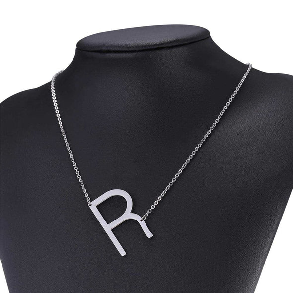 Personalized Large Sideways Letter A-Z Initial Necklace Alphabet Pendant
