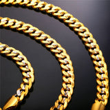 18K Real Gold/Platinum Plated Punk Men Two-Tone Stone 9mm Multi Size Chain Necklace