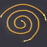 18K Real Gold Plated Round Chain Necklace Bracelet Jewelry Sets For Men