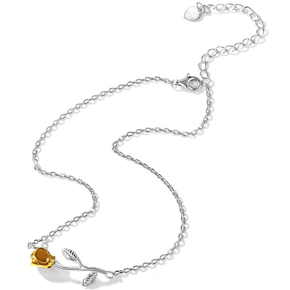 Classic 925 Sterling Silver Stemed Yellow Rose Flower Link Chain Anklet Bracelet