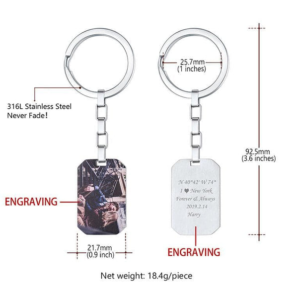 Engraved Photo Keychain Free Custom Dog Tag Photograph Memorial Jewelry