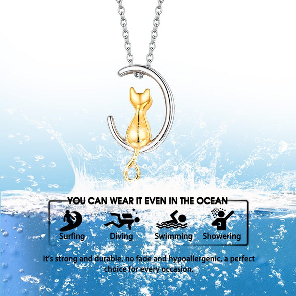 Memorial Engraving Two Tone Cute Cat Moon Cremation Urn Necklace