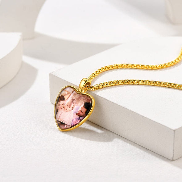 Personalized Engravable Heart Convex Custom Photo Pendent Necklace