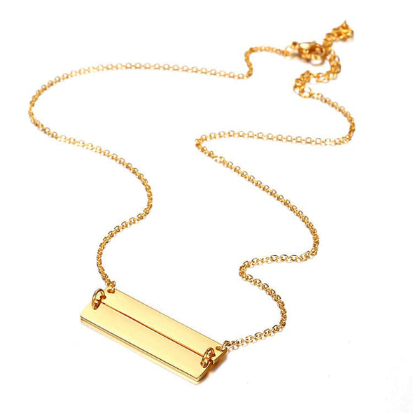 Engravable Double Bar Necklace Custom Name ID Personalized Jewerly