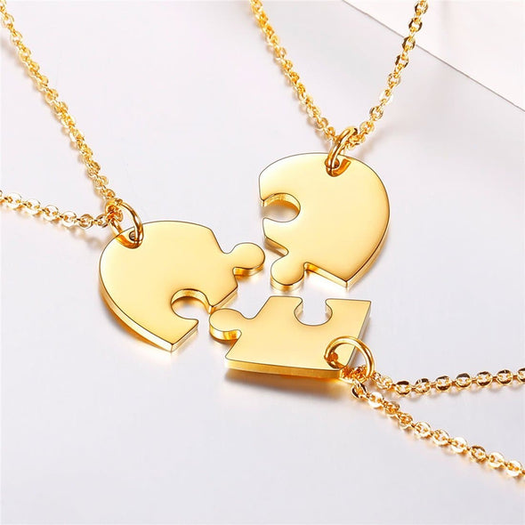 Personalized Heart BFF Puzzle Pendent Necklace with 2-6 Engraved Names