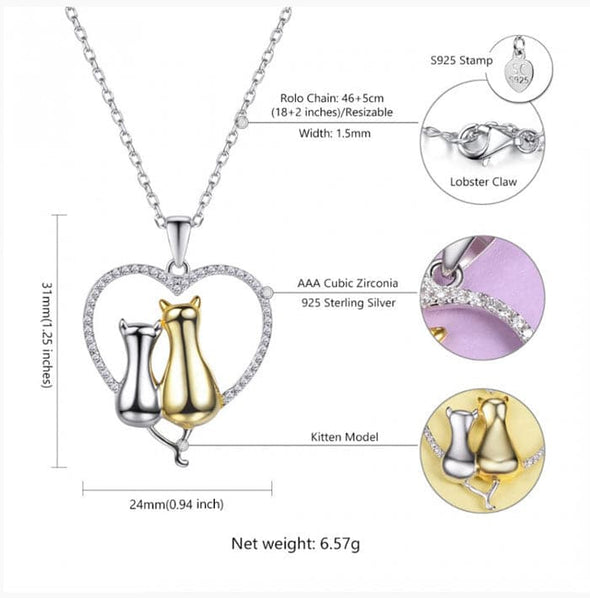 Couple Lover Sterling Silver Cubic Zirconia Heart Polised Double Cat Necklace