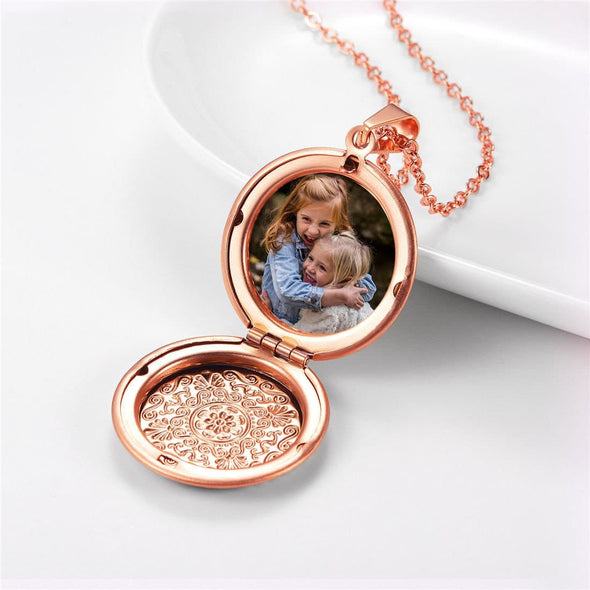 Vintage Pattern Round Locket Pendant Necklace with Custom Picture