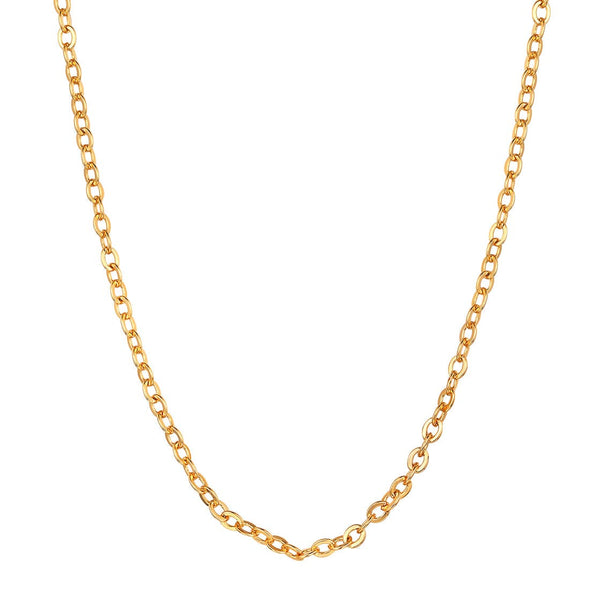 Gold chain for women classic Italy made 316L stainless steel 18k gold/rose gold/black plated 2mm wide rolo link chain necklace