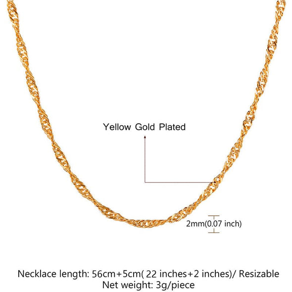 2MM Wide Singapore Chain Water-Wave Chain For Pendant Women and Men