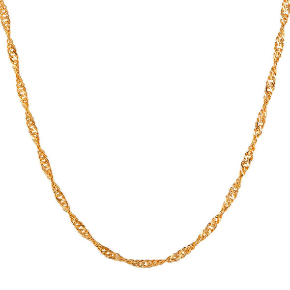 Singapore Chain 18K Gold Plated Water Wave Necklace For Pendant Women Men