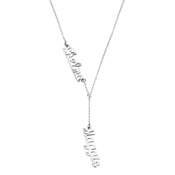 Personalized Y Lariat Infinity Style Double Names Necklace Dangling Pendent