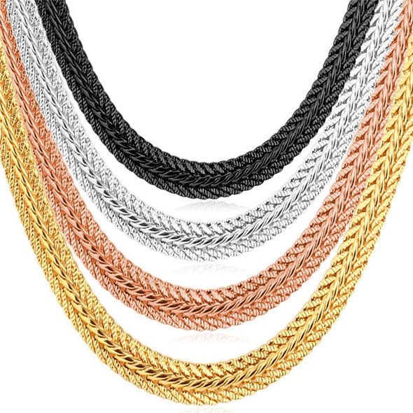 6mm Foxtail/Mesh Chain Necklaces 18K Gold Plated For Men Boy Teen