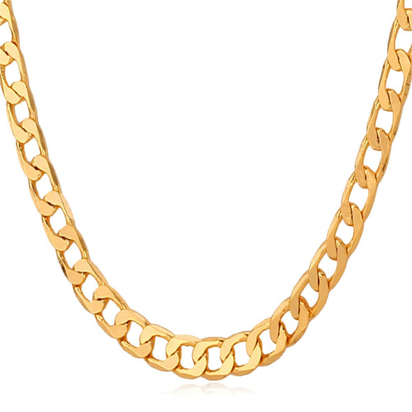 "18K"" Stamp Gold Chain Men Jewelry With 18K Gold Plated Curb/Cuban Link Chain"