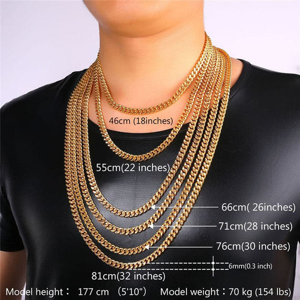 6mm Wide Cuban Link Chain Necklace 18K Gold Plated Punk Chain Necklace Men Jewelry