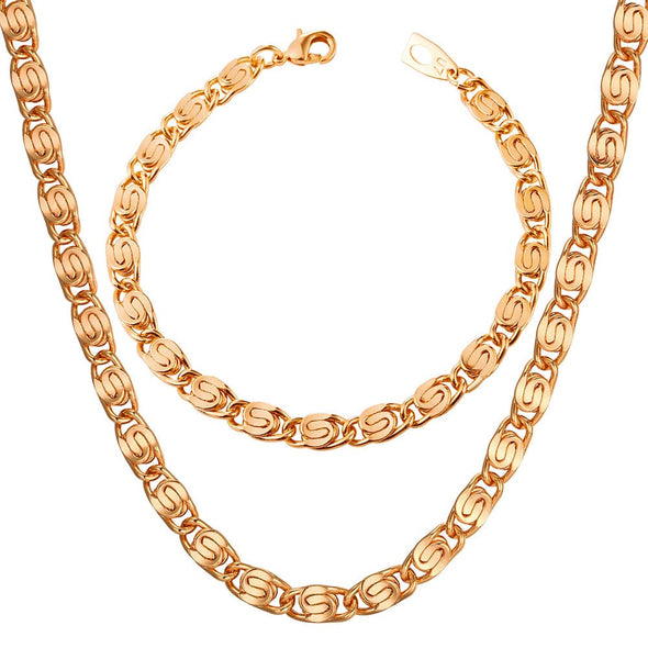 Gold chain for men and women hiphop 6mm wide 18k gold/rose gold/platinum/black plated cuban curb snail chain necklace bracelet