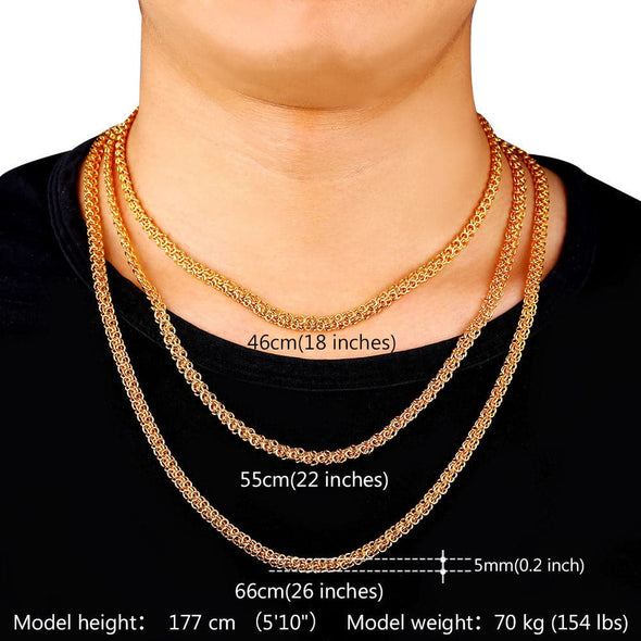 """18K"" Stamp Gold Plated Hiphop Style Round 55 cm Rope Chains Necklaces For Men"