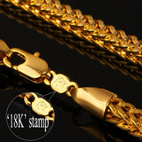 "55 CM Gold Necklace Chain Stamp ""18K"" Gold Plated Jewelry Foxtail Link Chain Necklace Punk Men"