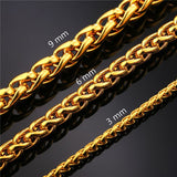 Stainless Steel Chain For Men 9MM Choker Rope Chain Twisted Necklace Mens Jewelry