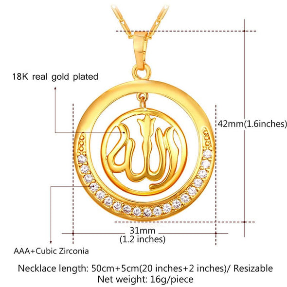 Sparkling Cubic Zircon Round Circle Muslim Allah Islamic Necklace