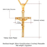 18K Gold Plated CZ Jesus Piece Cross Pendant Necklace for Women