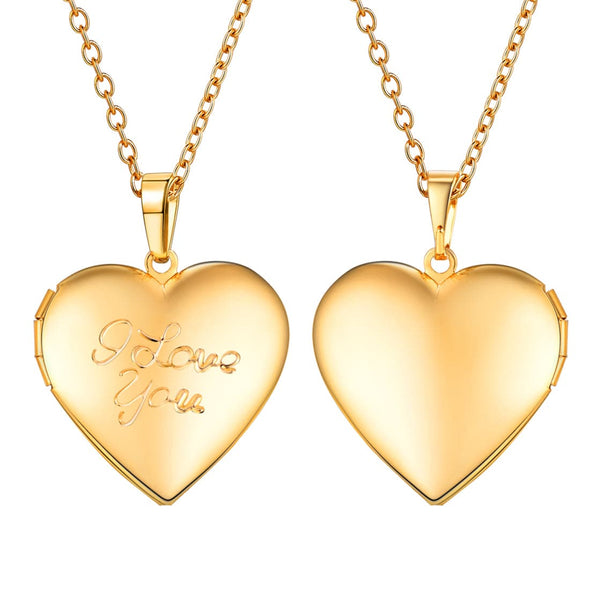 Engraved I Love You Romantic Heart Custom Photo Locket Pendent Necklace