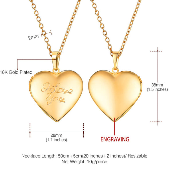 Engraved I Love You Romantic Heart Custom Photo Locket Pendent Necklace 18K Gold Plated