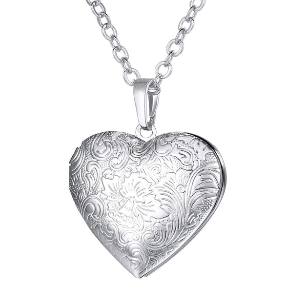 Classic Floral Patterned Heart Locket Necklace Custom Photo Pendant